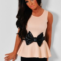 Delancey Peach Peplum Top with Bow Waistband | Pink Boutique