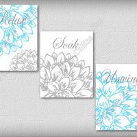 Peony Flower Gray and Turquoise Wall Art Prints Bathroom Decor Unwind Soak Relax Floral Burst Aqua Blue