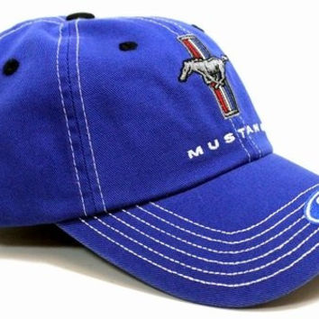 Ford Mustang Tri-Bar Logo Blue Hat