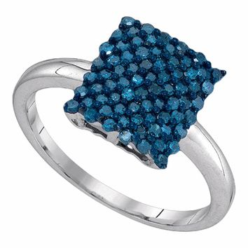 10kt White Gold Womens Round Blue Color Enhanced Diamond Rectangle Cluster Ring 1/2 Cttw