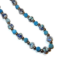 Shades of Blue and Silver Beaded Necklace
