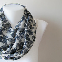 White Navy Blue Butterfly Pattern Crinkle Chiffon Infinity Scarf - Circle Scarf - Loop Scarf - Fall Winter Spring Summer Fashion