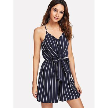 Striped Bow Waist Knot Back Jumpsuit