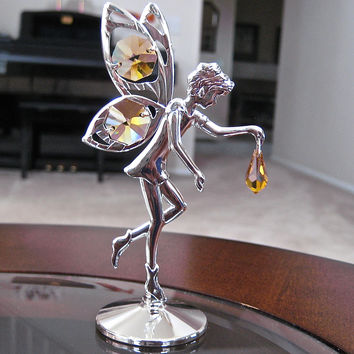 Swarovski Element Fairy Figurine with Topaz Octagon and Drop Prisms Silver Plated