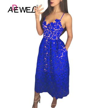 ADEWEL Elegant Women Royal Blue Lace Party Dress Sexy Hollow Out Nude Illusion Midi Dresses Ladies Backless Skater A-line Dress