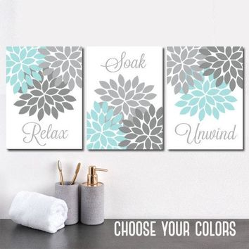 Aqua Gray BATHROOM Wall Art, CANVAS or Prints, Flower Bathroom Pictures, Relax Soak Unwind, Bathroom Decor, Set of 3, Bath Quotes Wall Decor