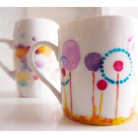 Fantasy Dandelion Cup, Upcycled Hand Painted Espresso Mug. | Luulla