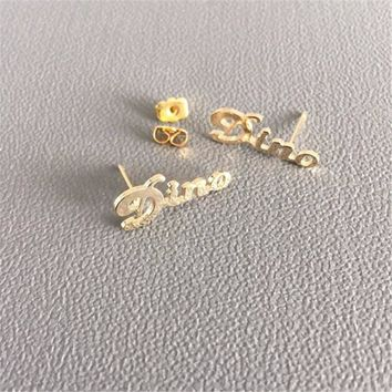 DIANSHANGKAITUOZHE Alphabet Ear Stud User-Defined Name Uniqueness Holiday Gifts Ear Nail Send Friends Wife Mother And Others