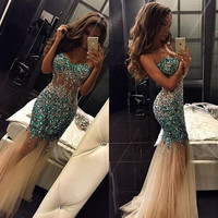 Luxury Mermaid Sweetheart 2016 New Sexy Summer Women Blue Beads Crystal Tulle Prom Dress Long Evening Party Dress Robe de Soiree