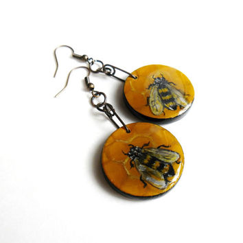 Bumblebee Earrings -  Hand Painted Honey Bees Earring Set - Bumble Bee Insect Jewelry - Honeycomb Bug Dangle Earring Wearable Art