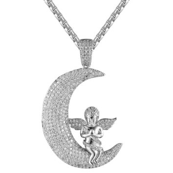 Guardian Praying Angel Crescent Moon IcedOut Faith Bling Pendant