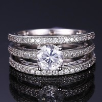ON SALE - Yesterday, Today and Tomorrow 3 Band Filigree Cubic Zirconia Wedding Ring Set
