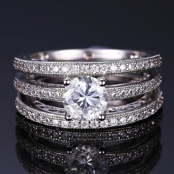 Yesterday, Today and Tomorrow 3 Band Filigree Cubic Zirconia Wedding Ring Set