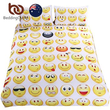 BeddingOutlet Emoji Bedding Set Interesting and Fashion Duvet Cover for Young People New Year Bed Sheets 3Pcs AU SIZE