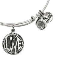 Alex and Ani Open Love Expandable Wire Bangle Russian Silver