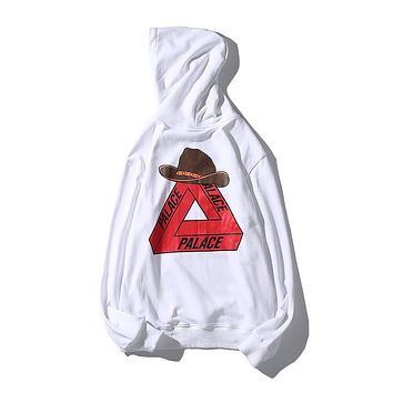 PALACE 2018 new cowboy hat triangle print fashion hoodie White