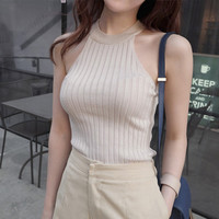 Hot Halter Crop Top Women Knitted Blouses Cotton Off Shoulder Sexy Summer Elegant Tops t-shirt Cheap Woman Clothing