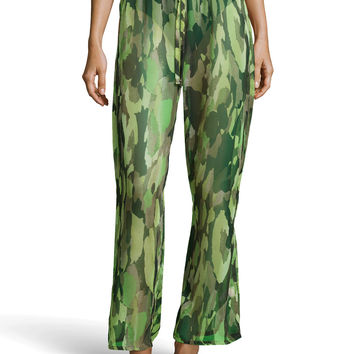Women's Camo-Print Beaded-Tie Coverup Pants, Olive - Luxe - Olive