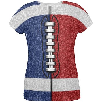 Fantasy Football Team Blue and Red All Over Womens T Shirt
