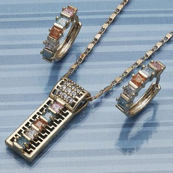 Gold Layered Women Greek Key Earring and Pendant Adult Set, with Multicolor Cubic Zirconia, by Folks Jewelry