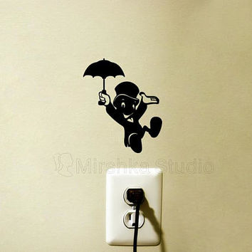 Jiminy Cricket Velvet Light Switch Decal - Pinocchio Mac Sticker - Jiminy Cricket Laptop Decal - iPad Sticker - Nursery Wall Decor