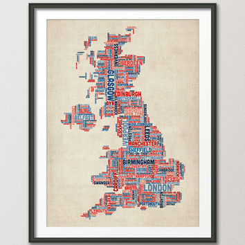 Great Britain UK City Text Map, Art Print 18x24 inch (928)