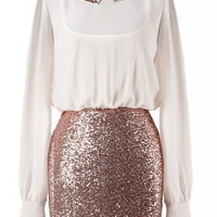 Secretary Sparkler Dress | Long-Sleeve Sequin Twofer Dresses | RicketyRack.com