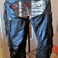 Vintage Willie G. Ladies Leather Riding Chaps w/Fringe Size S