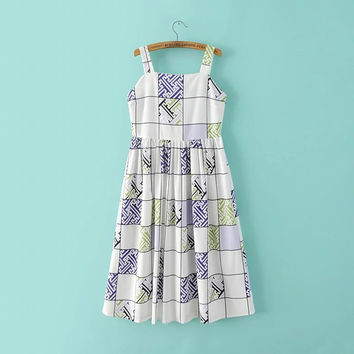 White Strapless Elastic Waist Plaid A-Line Dress