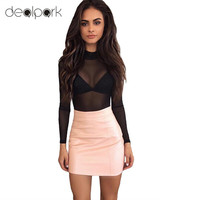 PU Leather Skirt New Sexy Women Solid Color High Waist Bodycon Short Mini Skirt Tight Skirt Pink/Brown Pencil Skirt