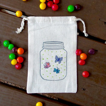 Butterflies in Mason Jar Hand Stamped Cotton Muslin 4x6 Favor Bag - Great for Summer Birthday Parties, Easter, Spring Parties or Weddings