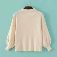 Beige Ribbed Lantern Sleeve Sweater