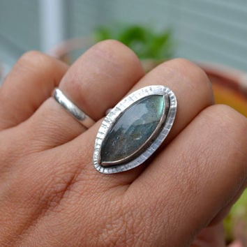 Rustic Labradorite Adjustable Ring, Oxidized Sterling Silver Statement Ring, Bohemian, OOAK, Stone of Magic, Gemstone Jewelry, Hippie Ring