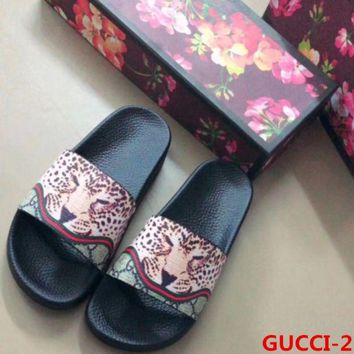 Gucci Trending Casual Fashion Women Man Leopard Print Sandal Slipper Shoes Apricot G