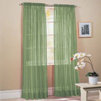 "Amazon.com: 2 Piece Solid Sage Green Sheer Window Curtains/drape/panels/treatment 60""w X 84""l: Home & Kitchen"