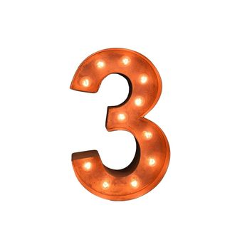 "12"" Number 3 (Three) Sign Vintage Marquee Lights"