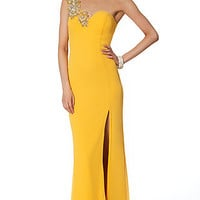 One Shoulder Sweetheart Open Back Gown