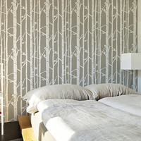 Birch Tree Stencil, Decorative Scandinavian Wall Stencil for DIY project, Decorative Wallpaper look and easy Home Decor