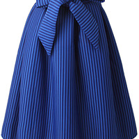 Stripe High Waist Bow Decoration Bud  Skirt