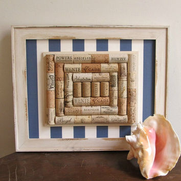 Nautical Blue Stripe Wine Cork Board - White Distressed Frame - Office, Kitchen, Home Organizer - Rustic, Country, Beach Decor