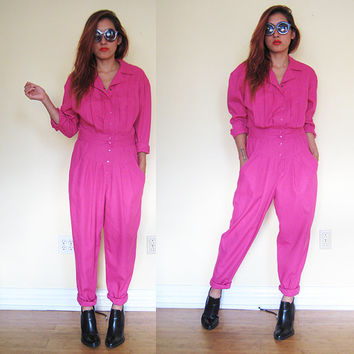 Vintage mechanic jumpsuit romper shocking pink overalls workwear utility
