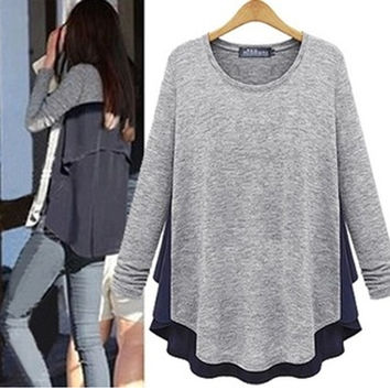 Block Asymmetrical Chiffon Sweater - Grey