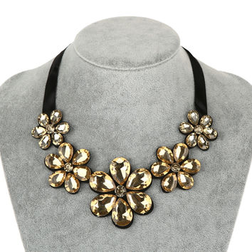 1pc Flower Crystal Jewelry Chunky Pendant Ribbon Chain Statement Bib Choker Necklace Jewelry Accessories