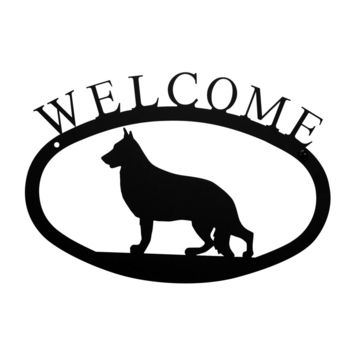 Wrought Iron German Shepard Dog Welcome Home Sign Small