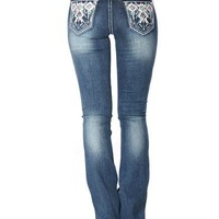 Grace in LA Women's Indigo Tribal Pocket Jeans - Boot Cut