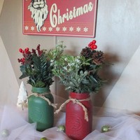 Set of Two Quart Size Painted Mason Jars ~ Red and Green ~ Country Christmas Home and Living Decor ~ Table Centerpiece ~ Rustic Farmhouse