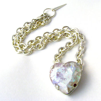 Hologram Heart Crystal Necklace - Rainbow Silver Foiled AB Heart Shaped Crystal w/ Chunky Silver Chain - Sparkly Space Jewelry