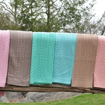 Cable Mix -Stone - Baby Blanket  - 100% Cotton