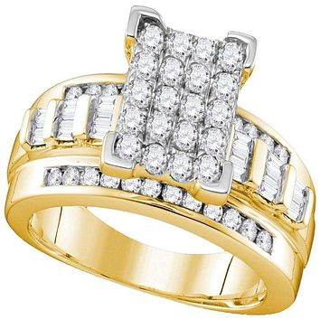 10kt Yellow Gold Women's Round Diamond Cinderella Cluster Bridal Wedding Engagement Ring 1.00 Cttw - FREE Shipping (US/CAN)