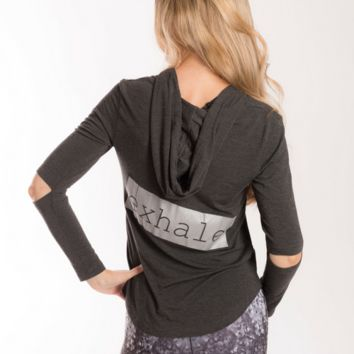 """Words Count """"Inhale/Exhale"""" Hoodie Shirt - Charcoal"""